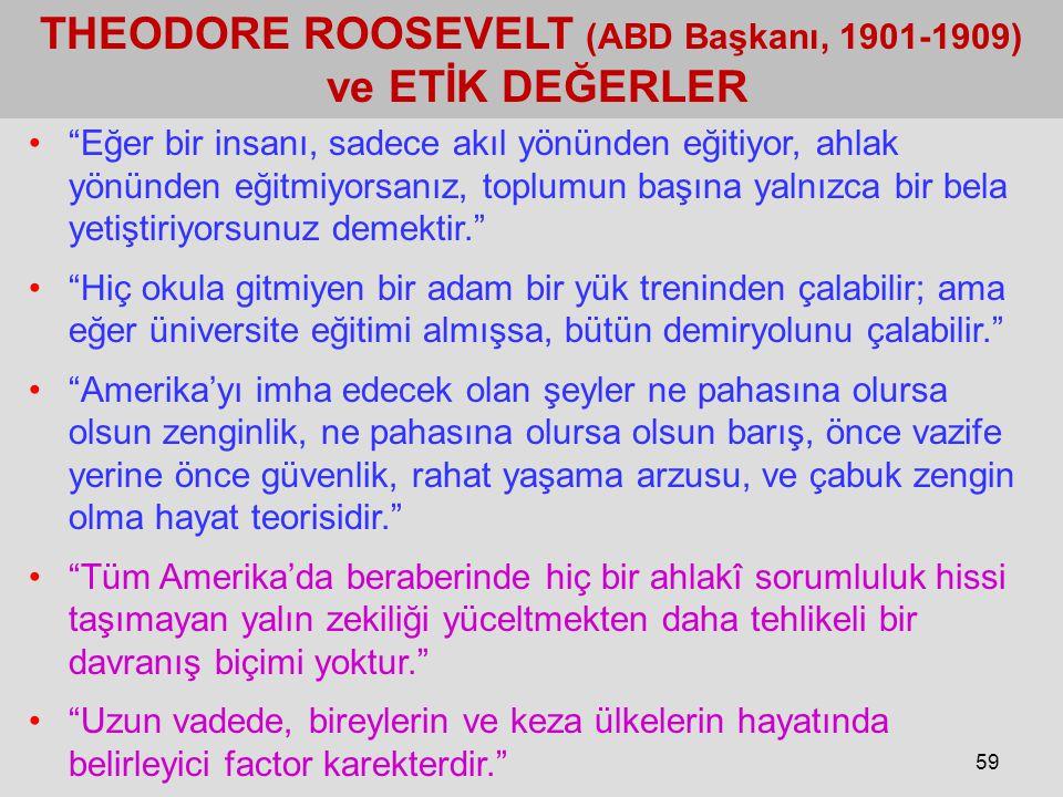 """59 THEODORE ROOSEVELT (ABD Başkanı, 1901-1909) ve ETİK DEĞERLER """"Eğer bir insanı, sadece akıl yönünden eğitiyor, ahlak yönünden eğitmiyorsanız, toplum"""