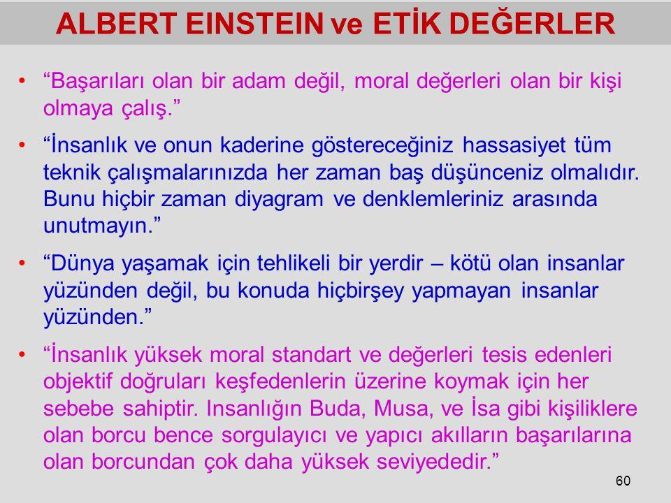 """60 ALBERT EINSTEIN ve ETİK DEĞERLER """"Başarıları olan bir adam değil, moral değerleri olan bir kişi olmaya çalış."""" """"İnsanlık ve onun kaderine gösterece"""