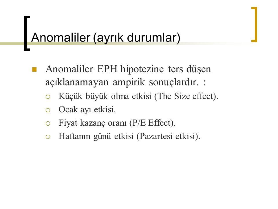 Anomaliler (ayrık durumlar) Anomaliler EPH hipotezine ters düşen açıklanamayan ampirik sonuçlardır.