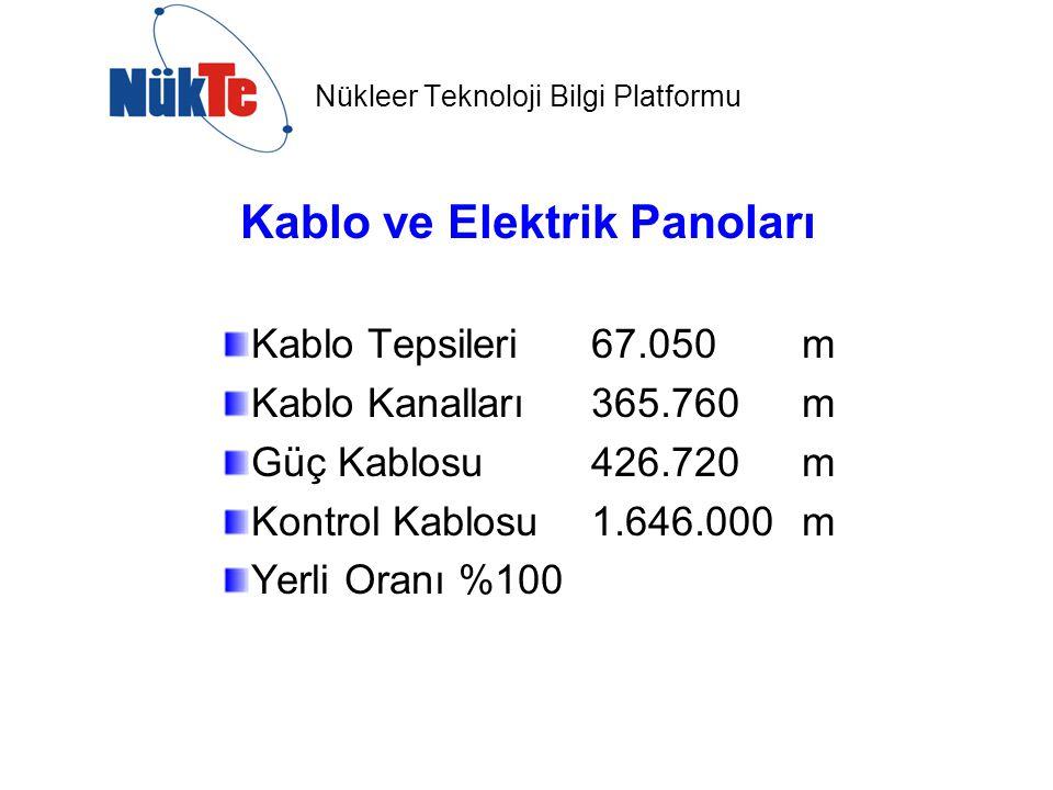 Nükleer Teknoloji Bilgi Platformu Kablo ve Elektrik Panoları Kablo Tepsileri 67.050 m Kablo Kanalları 365.760 m Güç Kablosu 426.720 m Kontrol Kablosu 1.646.000 m Yerli Oranı %100