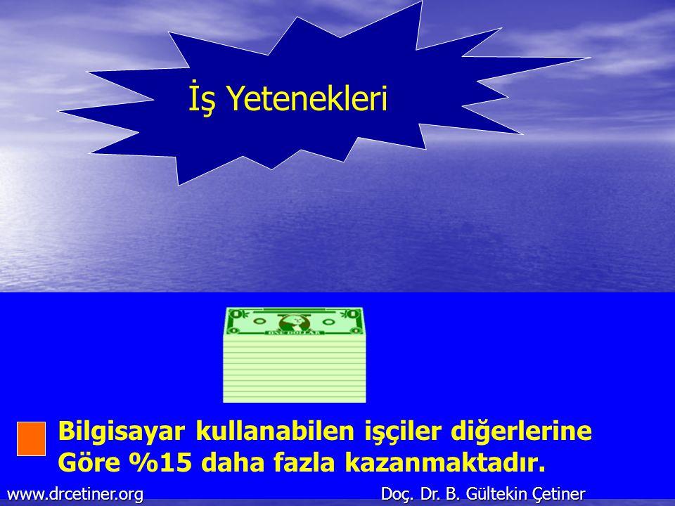 İş Yetenekleri Bilgisayar kullanabilen işçiler diğerlerine Göre %15 daha fazla kazanmaktadır. www.drcetiner.org Doç. Dr. B. Gültekin Çetiner