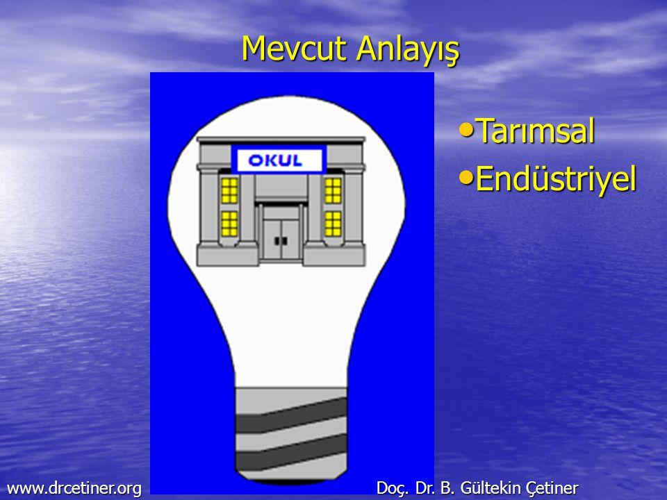 Mevcut Anlayış Tarımsal Tarımsal Endüstriyel Endüstriyel www.drcetiner.org Doç. Dr. B. Gültekin Çetiner