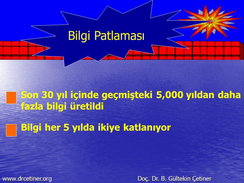 Bilgi Patlaması Son 30 yıl içinde geçmişteki 5,000 yıldan daha fazla bilgi üretildi Bilgi her 5 yılda ikiye katlanıyor www.drcetiner.org Doç. Dr. B. G