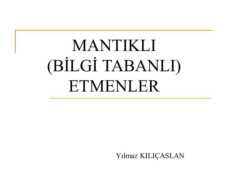 MANTIKLI (BİLGİ TABANLI) ETMENLER Yılmaz KILIÇASLAN