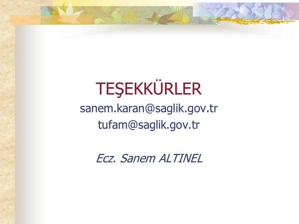 TEŞEKKÜRLER sanem.karan@saglik.gov.tr tufam@saglik.gov.tr Ecz. Sanem ALTINEL