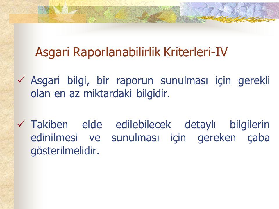 Asgari Raporlanabilirlik Kriterleri-IV Asgari bilgi, bir raporun sunulması için gerekli olan en az miktardaki bilgidir.