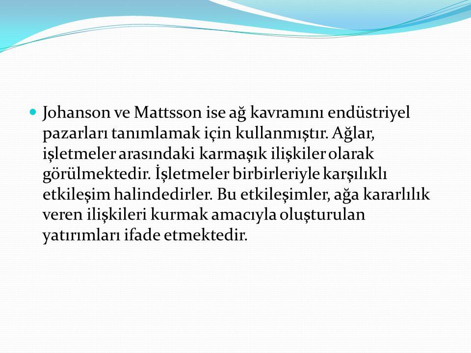 Johanson ve Mattsson ise ağ kavramını endüstriyel pazarları tanımlamak için kullanmıştır. Ağlar, işletmeler arasındaki karmaşık ilişkiler olarak görül