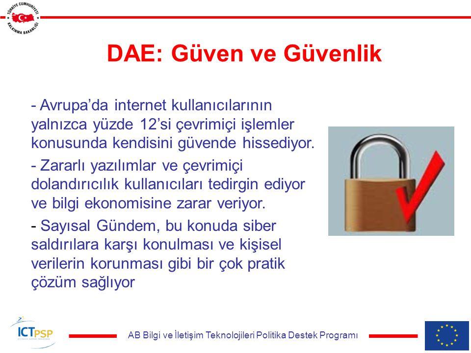 AB Bilgi ve İletişim Teknolojileri Politika Destek Programı DAE: Güven ve Güvenlik - Avrupa'da internet kullanıcılarının yalnızca yüzde 12'si çevrimiçi işlemler konusunda kendisini güvende hissediyor.