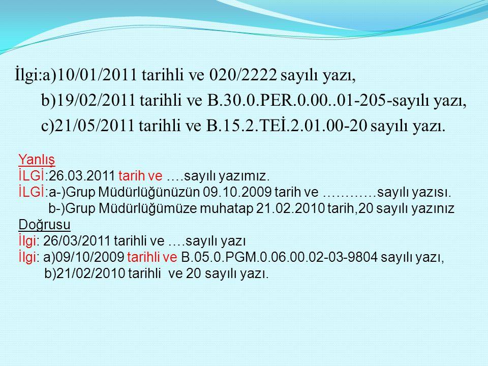 İlgi:a)10/01/2011 tarihli ve 020/2222 sayılı yazı, b)19/02/2011 tarihli ve B.30.0.PER.0.00..01-205-sayılı yazı, c)21/05/2011 tarihli ve B.15.2.TEİ.2.0