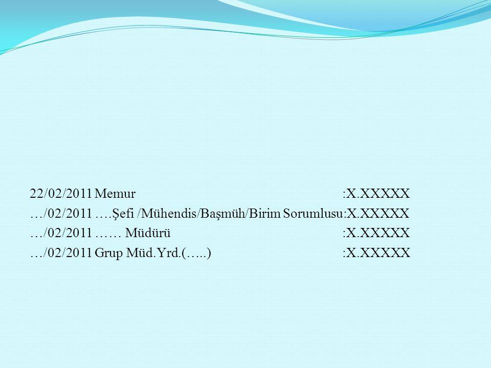22/02/2011 Memur :X.XXXXX …/02/2011 ….Şefi /Mühendis/Başmüh/Birim Sorumlusu:X.XXXXX …/02/2011 …… Müdürü :X.XXXXX …/02/2011 Grup Müd.Yrd.(…..) :X.XXXXX