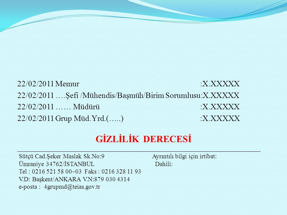 22/02/2011 Memur :X.XXXXX 22/02/2011 ….Şefi /Mühendis/Başmüh/Birim Sorumlusu:X.XXXXX 22/02/2011 …… Müdürü :X.XXXXX 22/02/2011 Grup Müd.Yrd.(…..) :X.XX