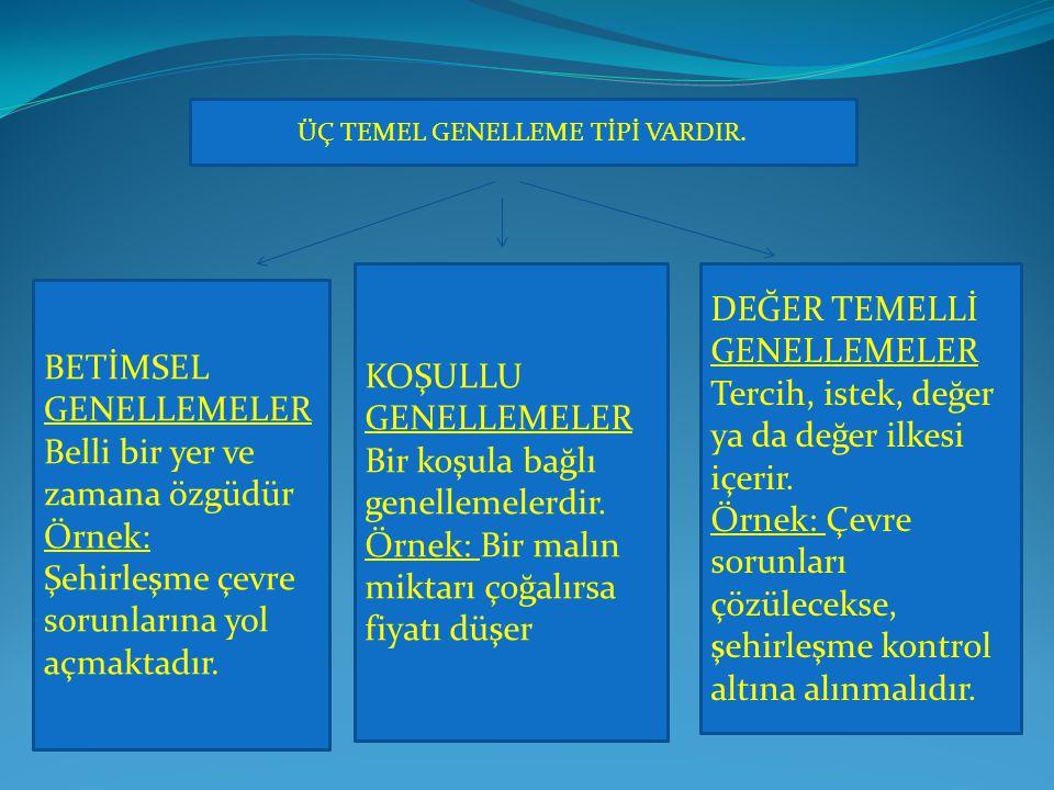 ÜÇ TEMEL GENELLEME TİPİ VARDIR.