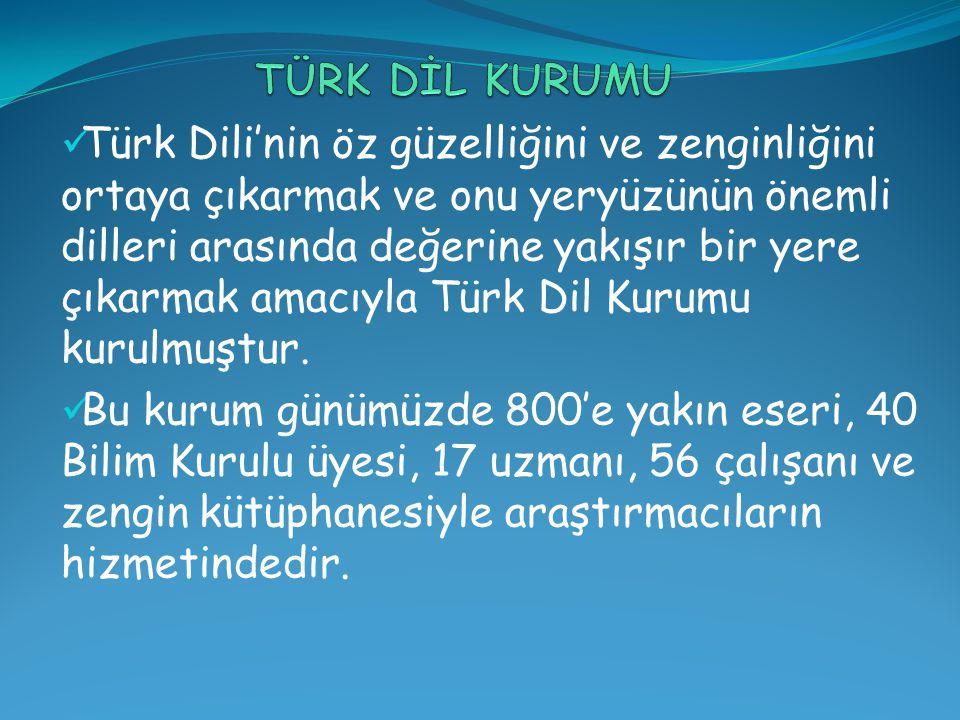 Türk Dili'nin öz güzelliğini ve zenginliğini ortaya çıkarmak ve onu yeryüzünün önemli dilleri arasında değerine yakışır bir yere çıkarmak amacıyla Türk Dil Kurumu kurulmuştur.