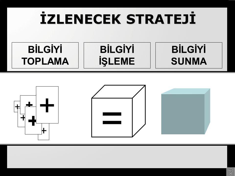 İZLENECEK STRATEJİ + BİLGİYİ TOPLAMA BİLGİYİ İŞLEME BİLGİYİ SUNMA + + + + + =