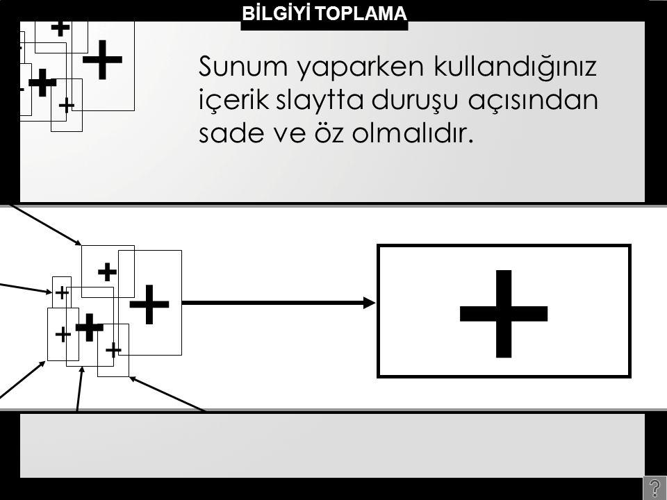 + + + + + + Sunum yaparken kullandığınız içerik slaytta duruşu açısından sade ve öz olmalıdır.