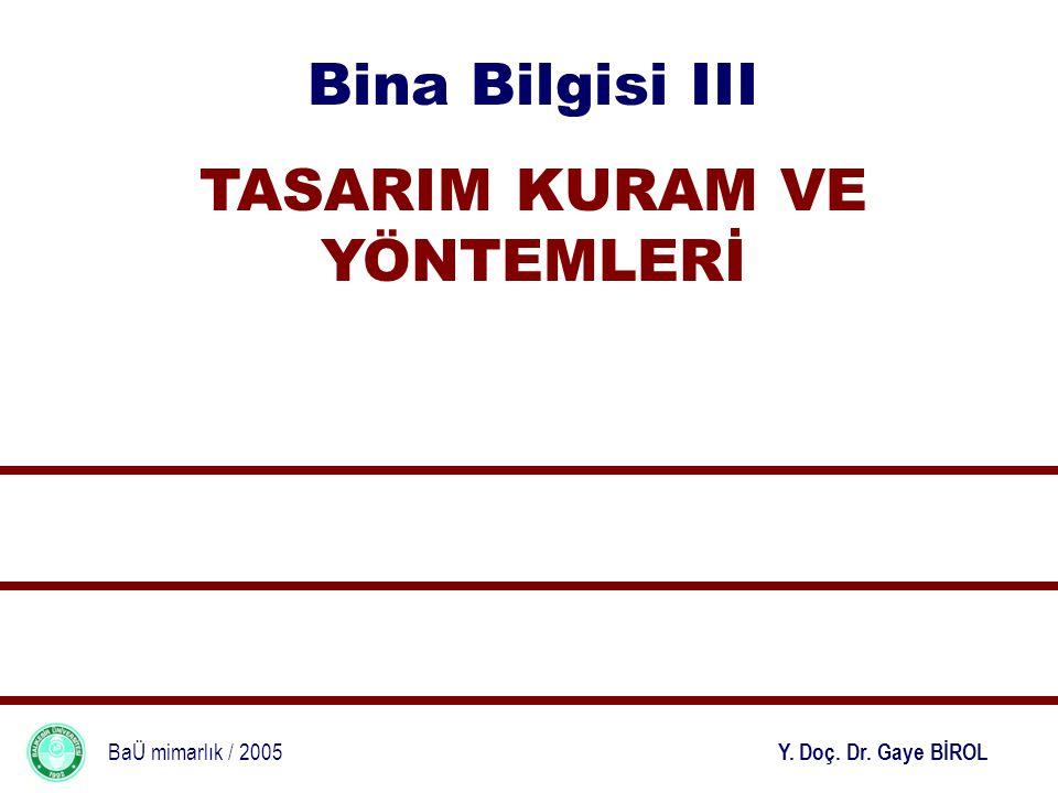 Bina Bilgisi III TASARIM KURAM VE YÖNTEMLERİ BaÜ mimarlık / 2005 Y. Doç. Dr. Gaye BİROL