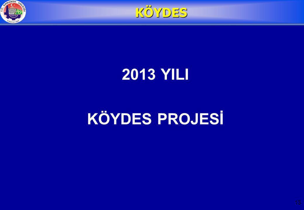 13 KÖYDES 2013 YILI KÖYDES PROJESİ