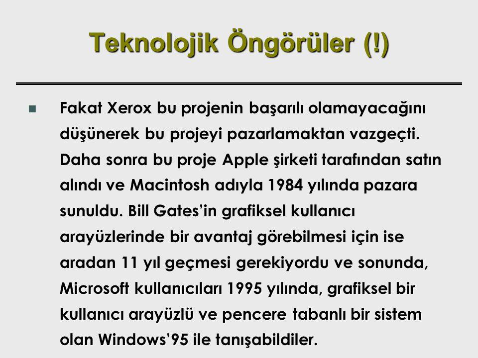 Teknolojik Öngörüler (!) Microsoft kullanıcıları 1995 yılında, grafiksel bir kullanıcı arayüzlü ve pencere tabanlı bir sistem olan Windows'95 Fakat Xe