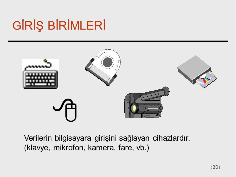 (30) GİRİŞ BİRİMLERİ Verilerin bilgisayara girişini sağlayan cihazlardır. (klavye, mikrofon, kamera, fare, vb.) 