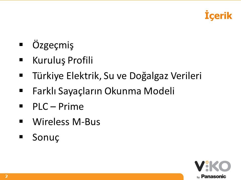 R 242 G 125 B 0 R 153 G 153 B 153 2 İçerik  Özgeçmiş  Kuruluş Profili  Türkiye Elektrik, Su ve Doğalgaz Verileri  Farklı Sayaçların Okunma Modeli