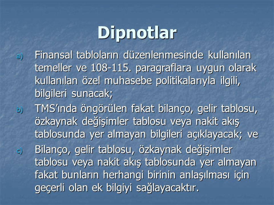 Dipnotlar a) Finansal tabloların düzenlenmesinde kullanılan temeller ve 108-115.