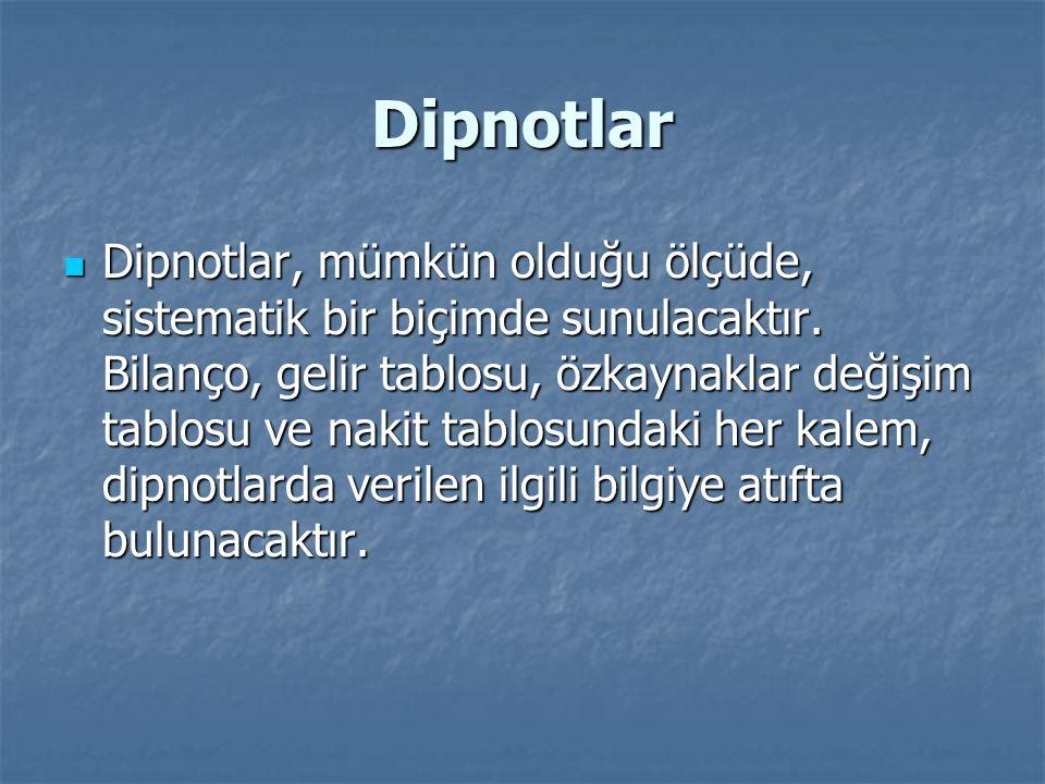 Dipnotlar Dipnotlar, mümkün olduğu ölçüde, sistematik bir biçimde sunulacaktır.