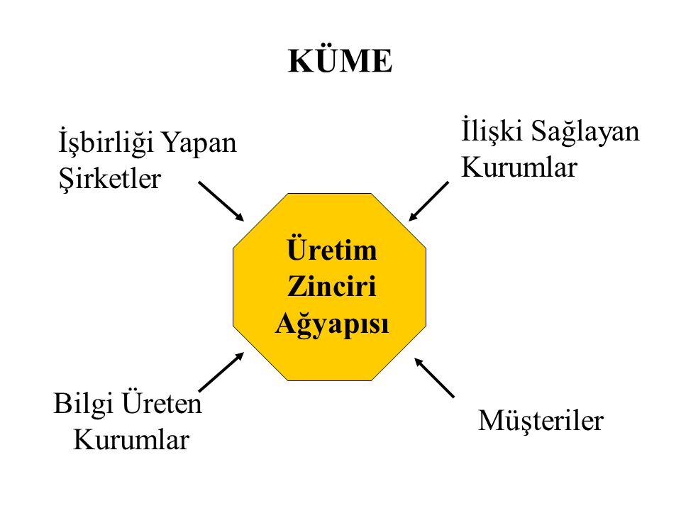 KÜME Üretim Zinciri Ağyapısı İşbirliği Yapan Şirketler Bilgi Üreten Kurumlar İlişki Sağlayan Kurumlar Müşteriler