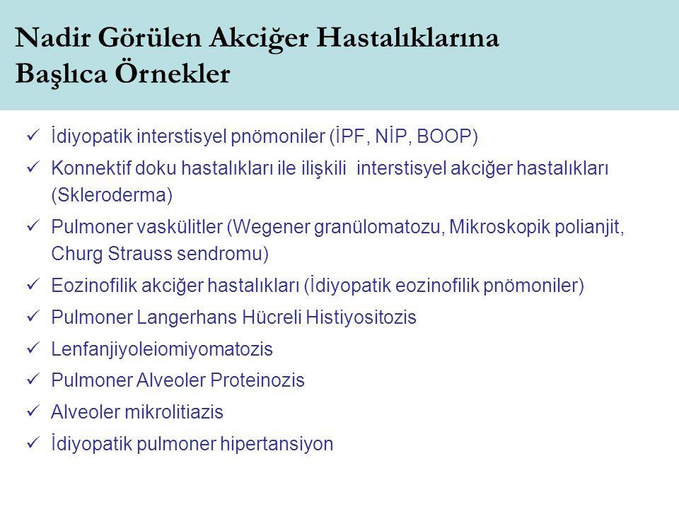 İdiyopatik interstisyel pnömoniler (İPF, NİP, BOOP) Konnektif doku hastalıkları ile ilişkili interstisyel akciğer hastalıkları (Skleroderma) Pulmoner vaskülitler (Wegener granülomatozu, Mikroskopik polianjit, Churg Strauss sendromu) Eozinofilik akciğer hastalıkları (İdiyopatik eozinofilik pnömoniler) Pulmoner Langerhans Hücreli Histiyositozis Lenfanjiyoleiomiyomatozis Pulmoner Alveoler Proteinozis Alveoler mikrolitiazis İdiyopatik pulmoner hipertansiyon Nadir Görülen Akciğer Hastalıklarına Başlıca Örnekler
