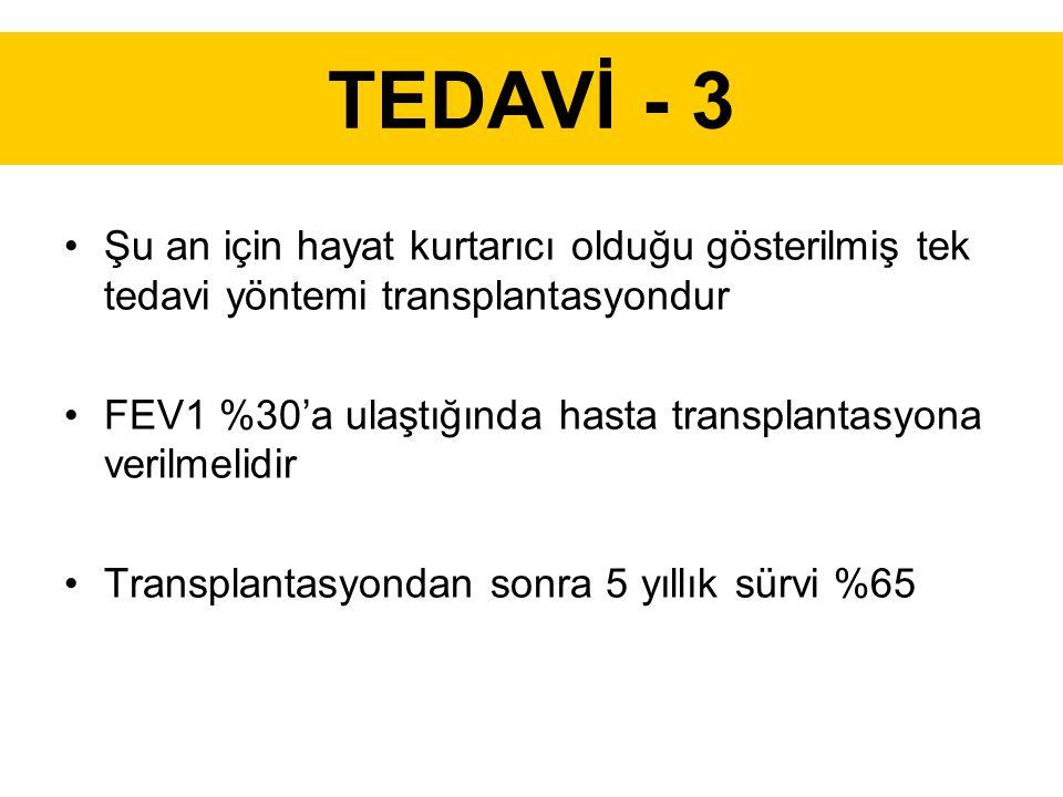 TEDAVİ - 3 Şu an için hayat kurtarıcı olduğu gösterilmiş tek tedavi yöntemi transplantasyondur FEV1 %30'a ulaştığında hasta transplantasyona verilmelidir Transplantasyondan sonra 5 yıllık sürvi %65