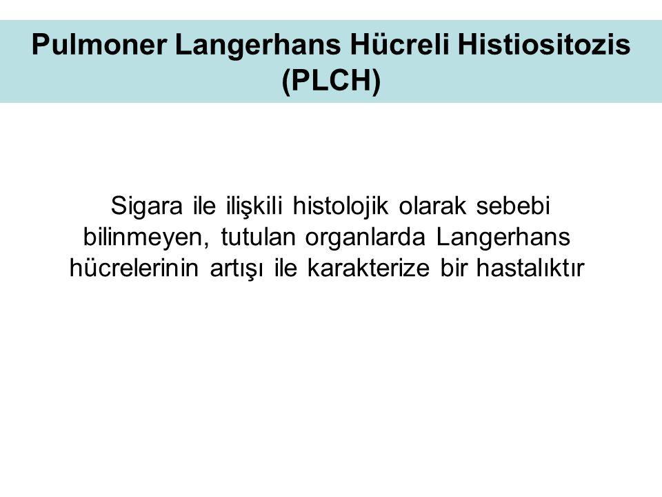 Pulmoner Langerhans Hücreli Histiositozis (PLCH) Sigara ile ilişkili histolojik olarak sebebi bilinmeyen, tutulan organlarda Langerhans hücrelerinin artışı ile karakterize bir hastalıktır