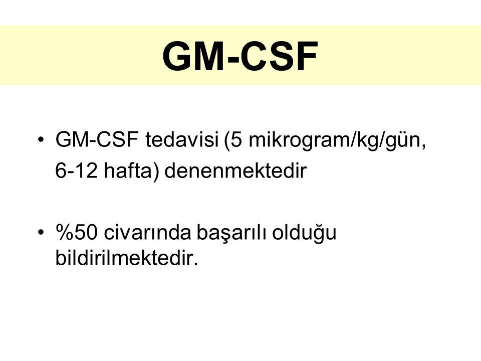 GM-CSF GM-CSF tedavisi (5 mikrogram/kg/gün, 6-12 hafta) denenmektedir %50 civarında başarılı olduğu bildirilmektedir.