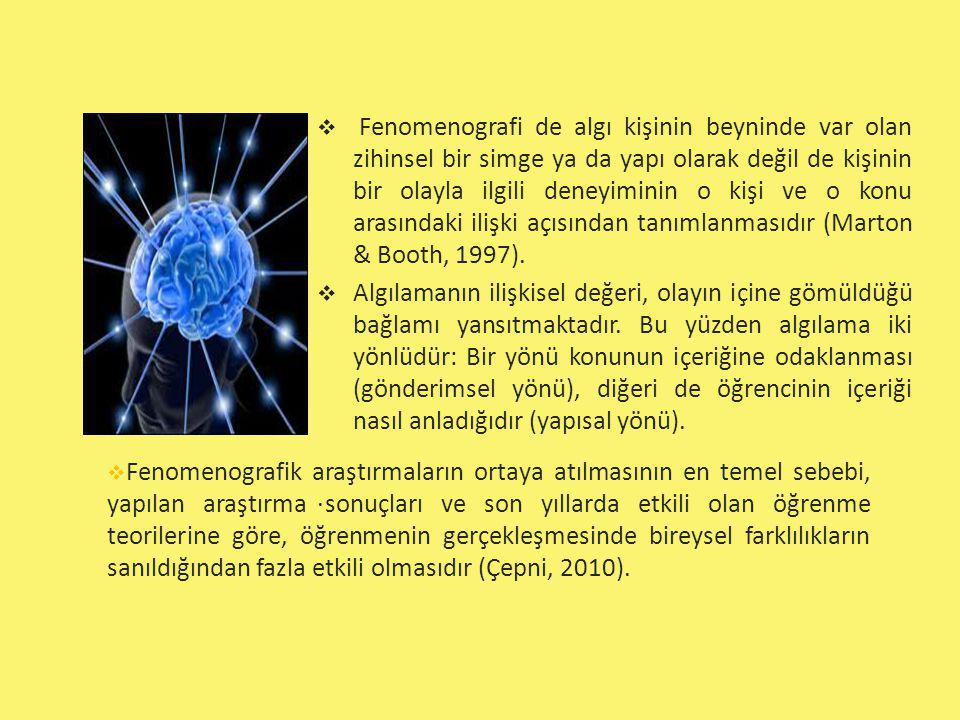  Fenomenografi de algı kişinin beyninde var olan zihinsel bir simge ya da yapı olarak değil de kişinin bir olayla ilgili deneyiminin o kişi ve o konu