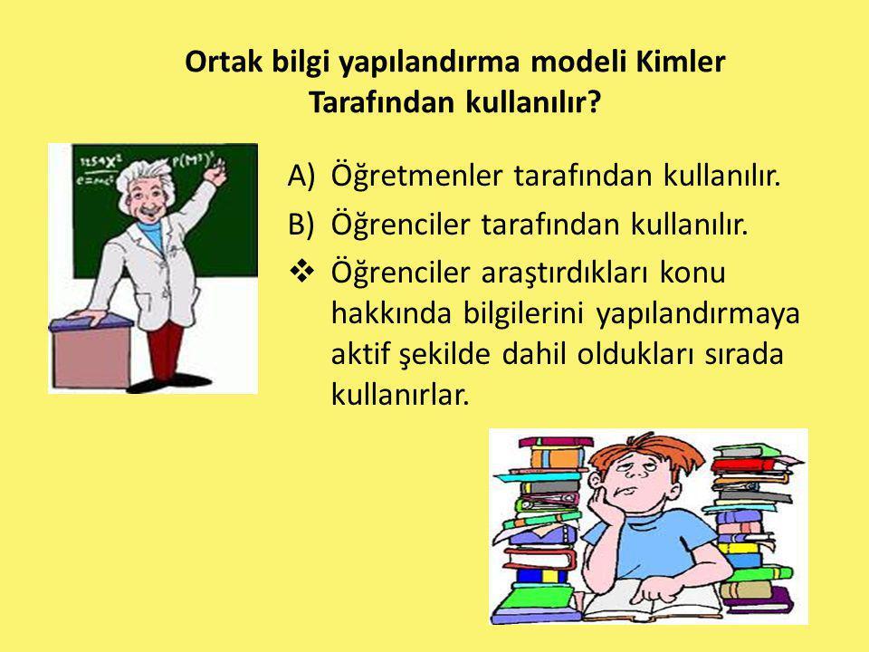 Ortak bilgi yapılandırma modeli Kimler Tarafından kullanılır? A)Öğretmenler tarafından kullanılır. B)Öğrenciler tarafından kullanılır.  Öğrenciler ar