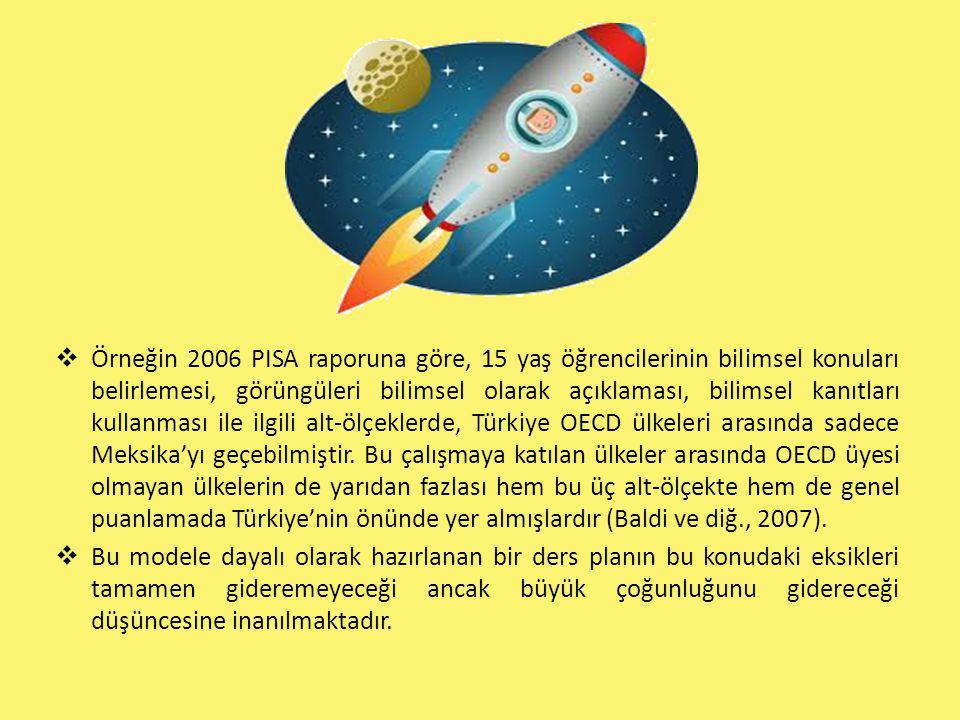  Örneğin 2006 PISA raporuna göre, 15 yaş öğrencilerinin bilimsel konuları belirlemesi, görüngüleri bilimsel olarak açıklaması, bilimsel kanıtları kul