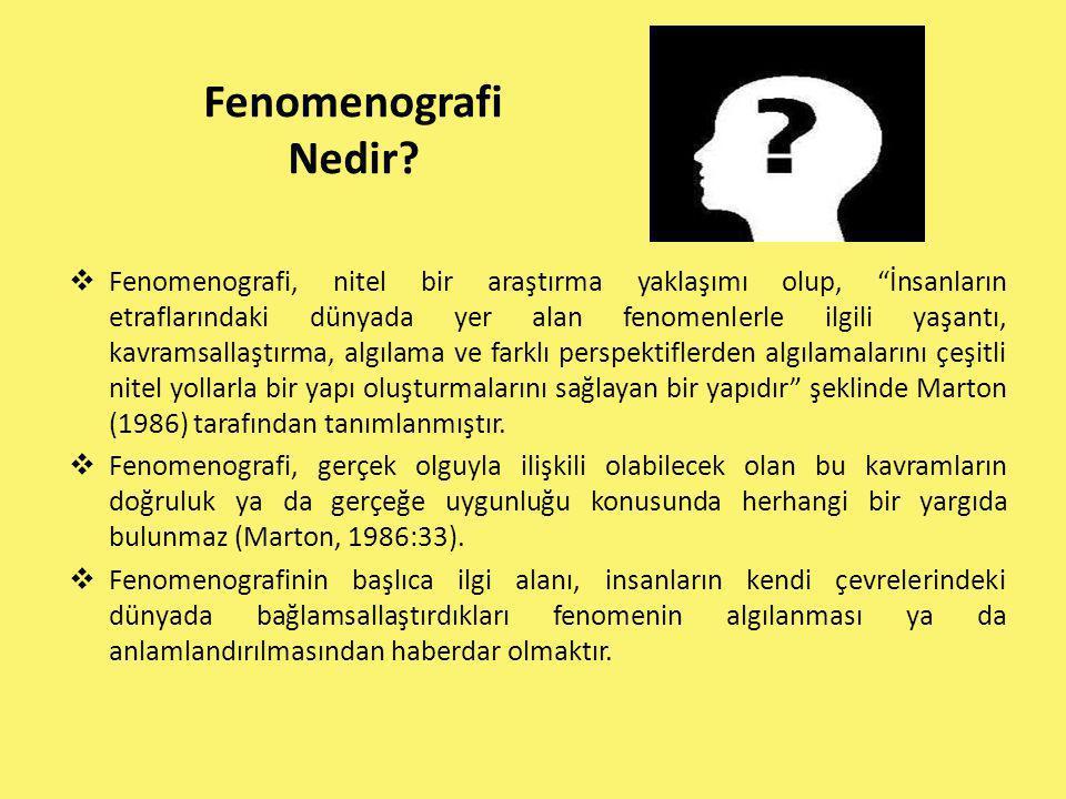 """Fenomenografi Nedir?  Fenomenografi, nitel bir araştırma yaklaşımı olup, """"İnsanların etraflarındaki dünyada yer alan fenomenlerle ilgili yaşantı, kav"""