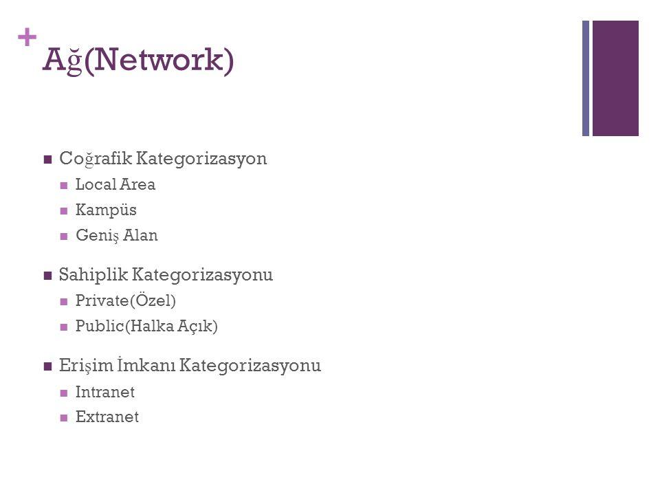 + A ğ (Network) Co ğ rafik Kategorizasyon Local Area Kampüs Geni ş Alan Sahiplik Kategorizasyonu Private(Özel) Public(Halka Açık) Eri ş im İ mkanı Kategorizasyonu Intranet Extranet