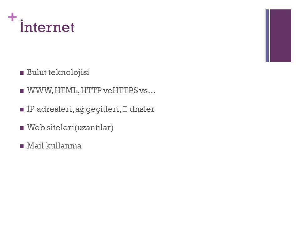 + İ nternet Bulut teknolojisi WWW, HTML, HTTP veHTTPS vs… İ P adresleri, a ğ geçitleri, dnsler Web siteleri(uzantılar) Mail kullanma