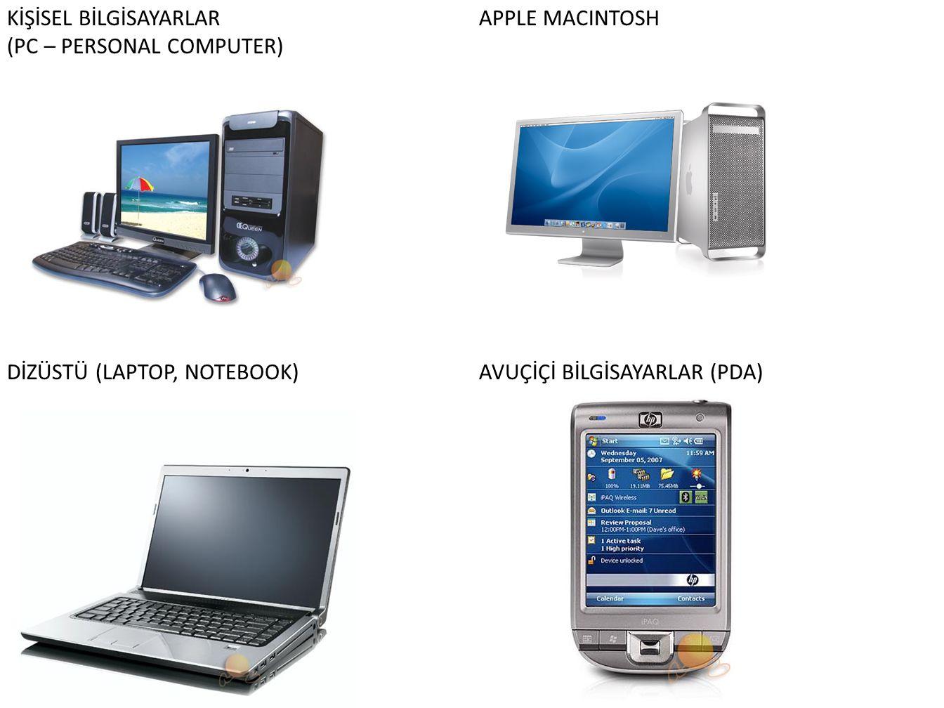 KİŞİSEL BİLGİSAYARLAR (PC – PERSONAL COMPUTER) APPLE MACINTOSH DİZÜSTÜ (LAPTOP, NOTEBOOK)AVUÇİÇİ BİLGİSAYARLAR (PDA)