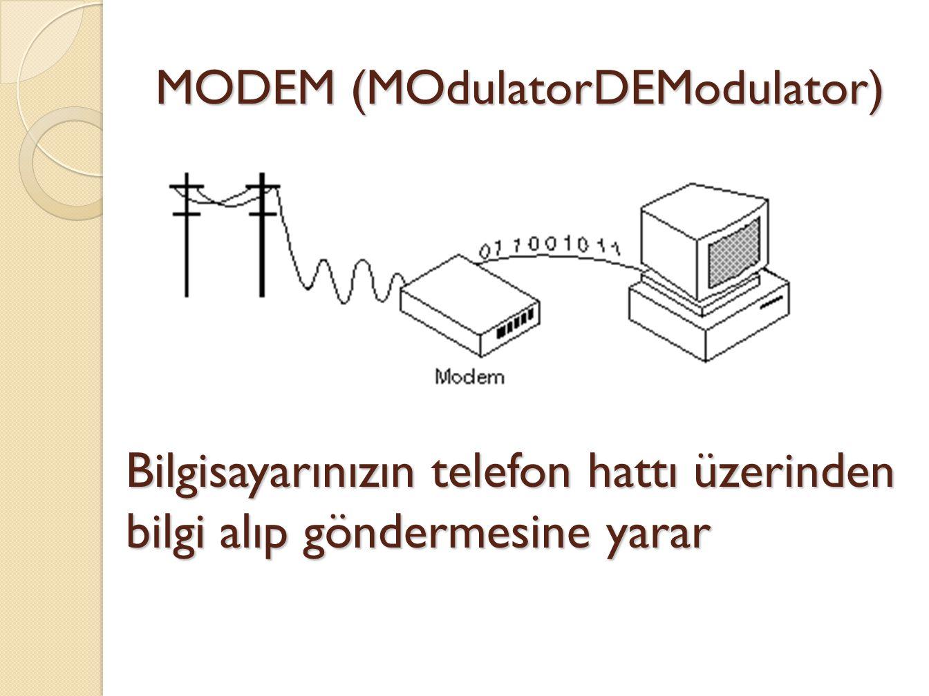MODEM (MOdulatorDEModulator) Bilgisayarınızın telefon hattı üzerinden bilgi alıp göndermesine yarar
