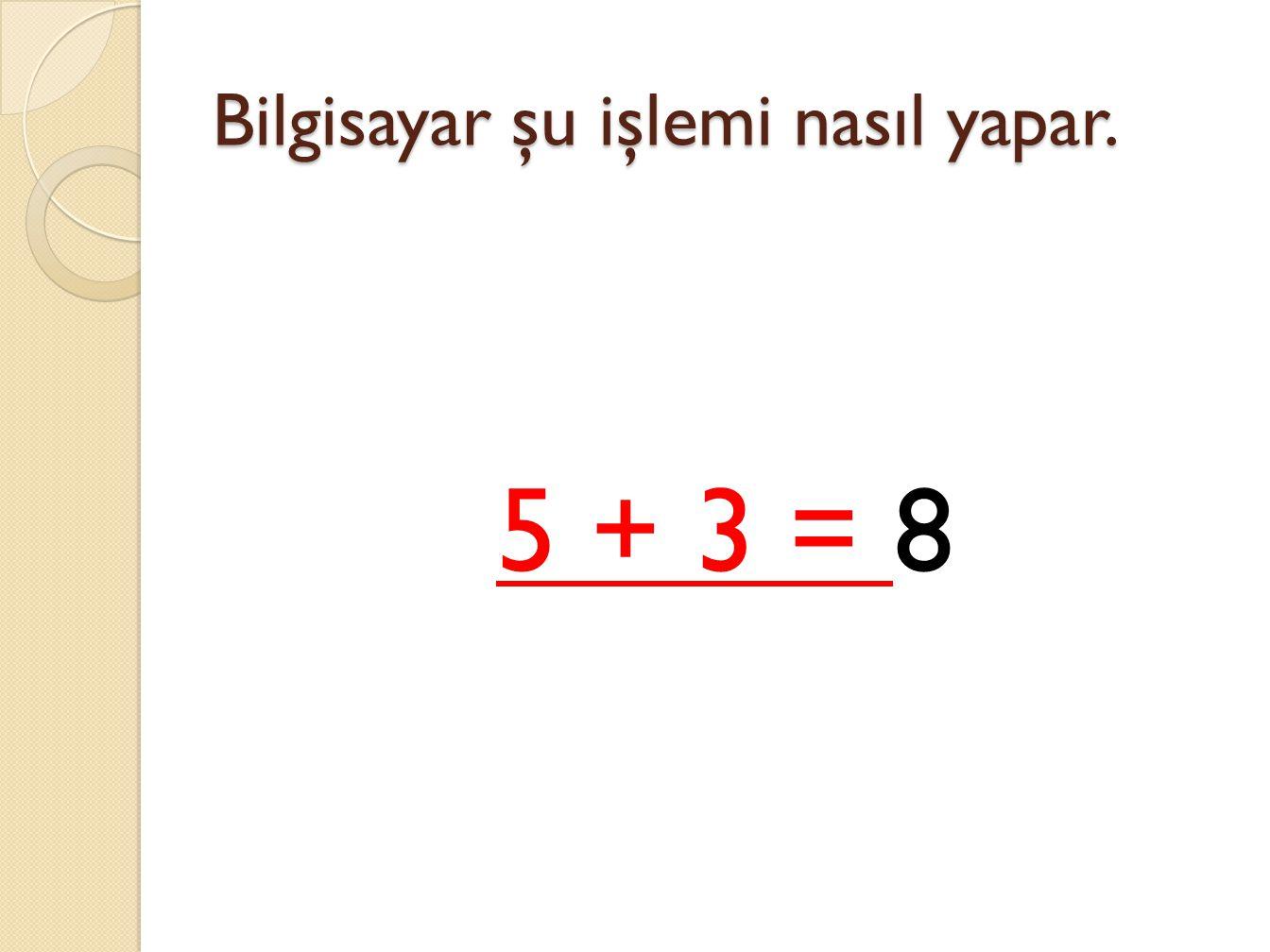 5 + 3 = 8 işlemi
