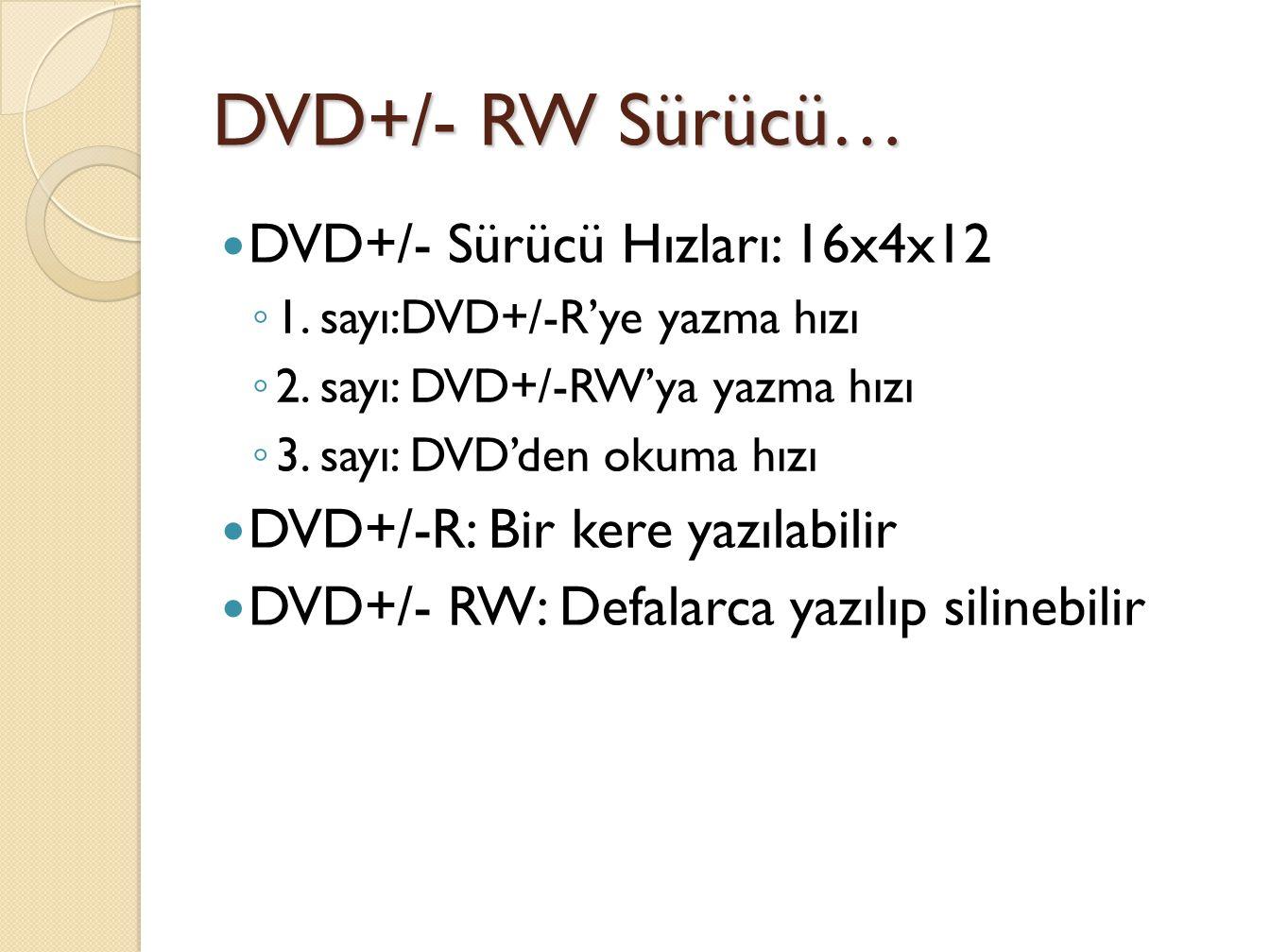 DVD+/- RW Sürücü… DVD+/- Sürücü Hızları: 16x4x12 ◦ 1.