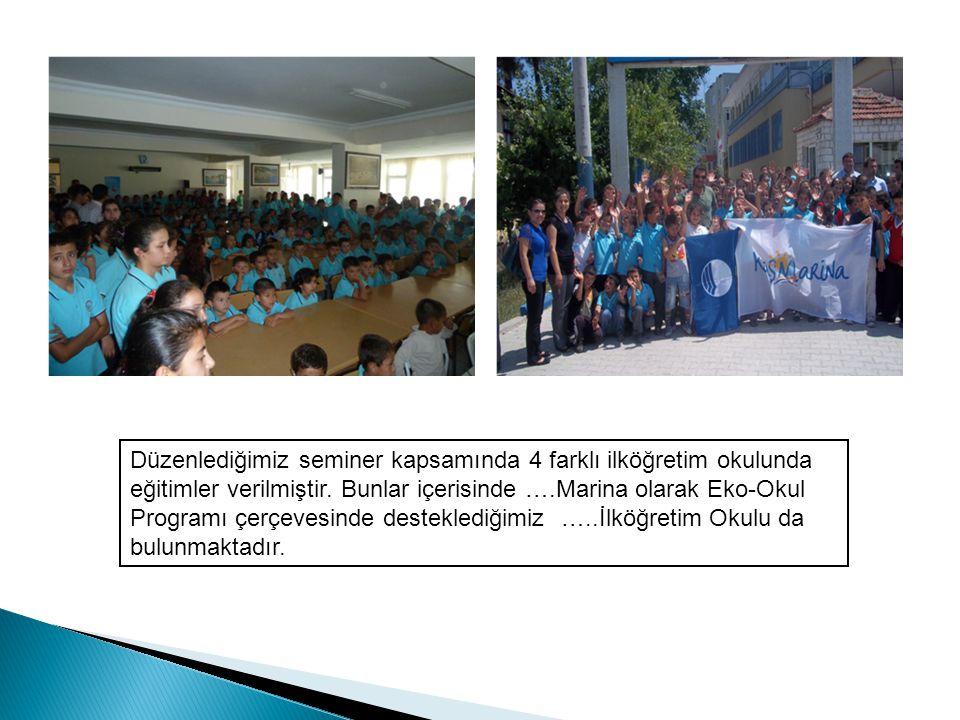 Düzenlediğimiz seminer kapsamında 4 farklı ilköğretim okulunda eğitimler verilmiştir. Bunlar içerisinde ….Marina olarak Eko-Okul Programı çerçevesinde
