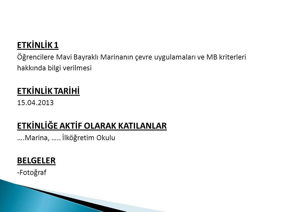 ETKİNLİK 1 Öğrencilere Mavi Bayraklı Marinanın çevre uygulamaları ve MB kriterleri hakkında bilgi verilmesi ETKİNLİK TARİHİ 15.04.2013 ETKİNLİĞE AKTİF