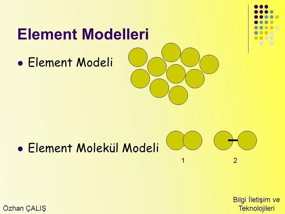 Özhan ÇALIŞ Bilgi İletişim ve Teknolojileri Element Modelleri Element Modeli Element Molekül Modeli 12