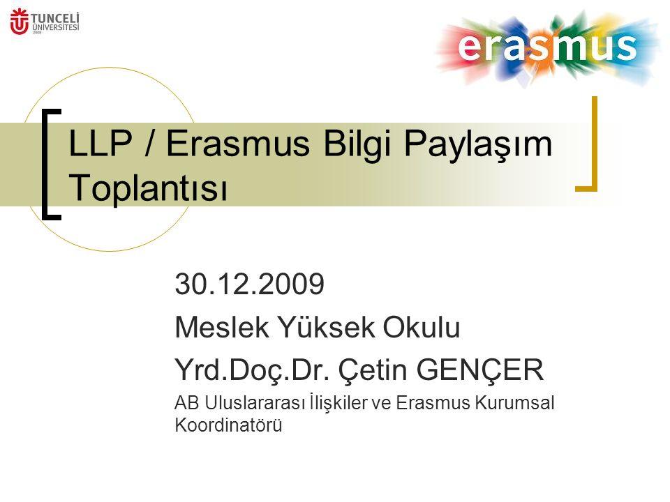 LLP / Erasmus Bilgi Paylaşım Toplantısı 30.12.2009 Meslek Yüksek Okulu Yrd.Doç.Dr.