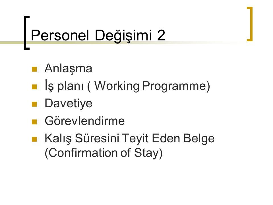 Personel Değişimi 2 Anlaşma İş planı ( Working Programme) Davetiye Görevlendirme Kalış Süresini Teyit Eden Belge (Confirmation of Stay)