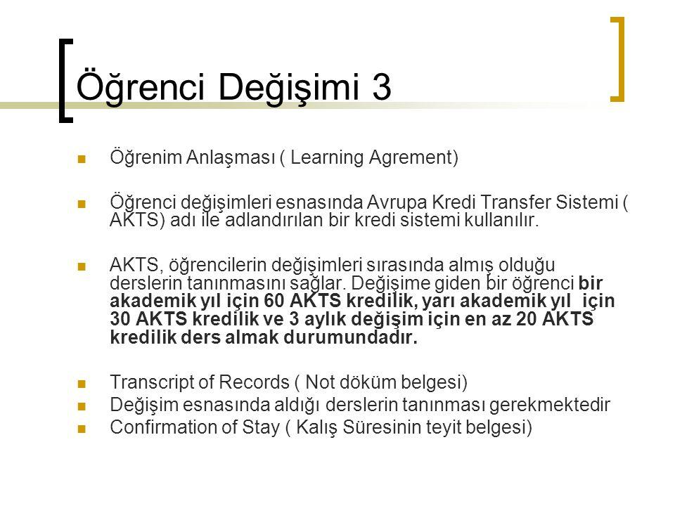 Öğrenci Değişimi 3 Öğrenim Anlaşması ( Learning Agrement) Öğrenci değişimleri esnasında Avrupa Kredi Transfer Sistemi ( AKTS) adı ile adlandırılan bir kredi sistemi kullanılır.