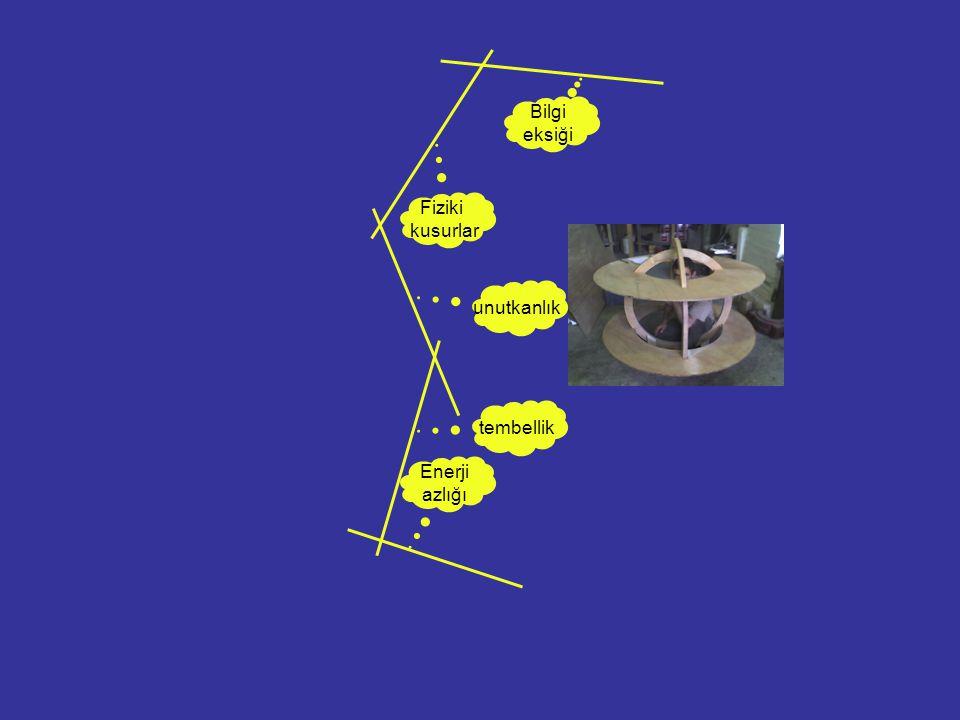Bilgi eksiği Fiziki kusurlar unutkanlık tembellik Enerji azlığı