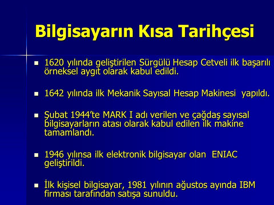 Bilgisayarın Kısa Tarihçesi 1620 yılında geliştirilen Sürgülü Hesap Cetveli ilk başarılı örneksel aygıt olarak kabul edildi. 1620 yılında geliştirilen