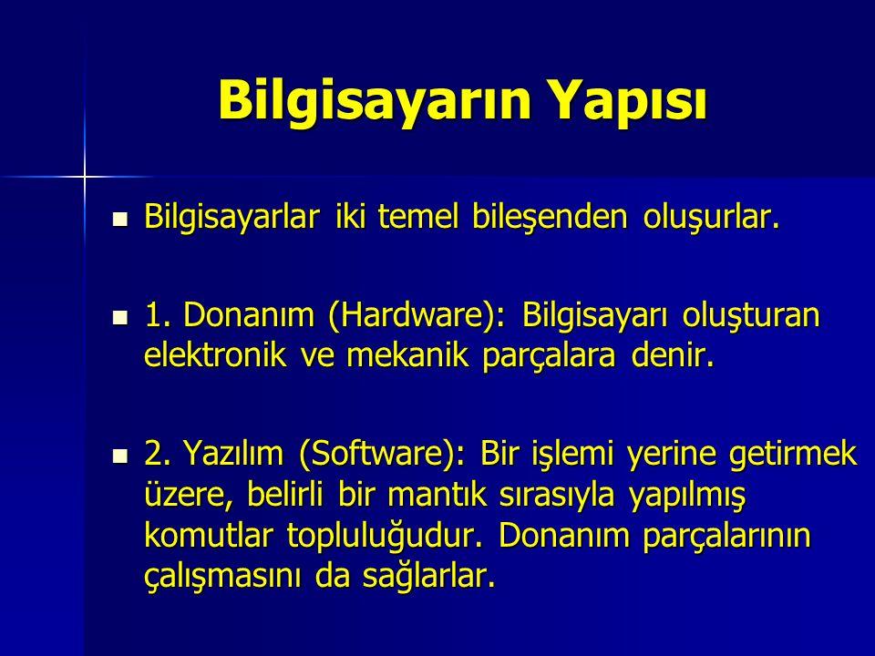 Bilgisayarlar iki temel bileşenden oluşurlar. Bilgisayarlar iki temel bileşenden oluşurlar. 1. Donanım (Hardware): Bilgisayarı oluşturan elektronik ve
